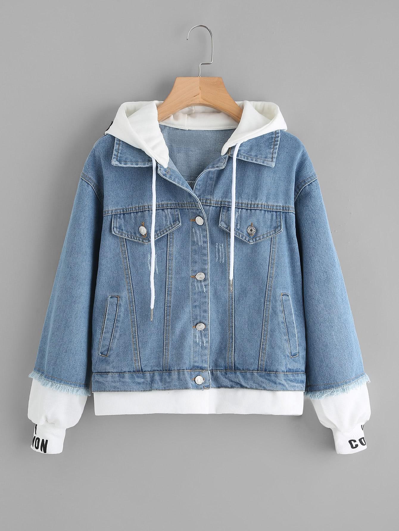 2 In 1 Ribbed Knit Trim Hooded Denim Jacket jacket171013131