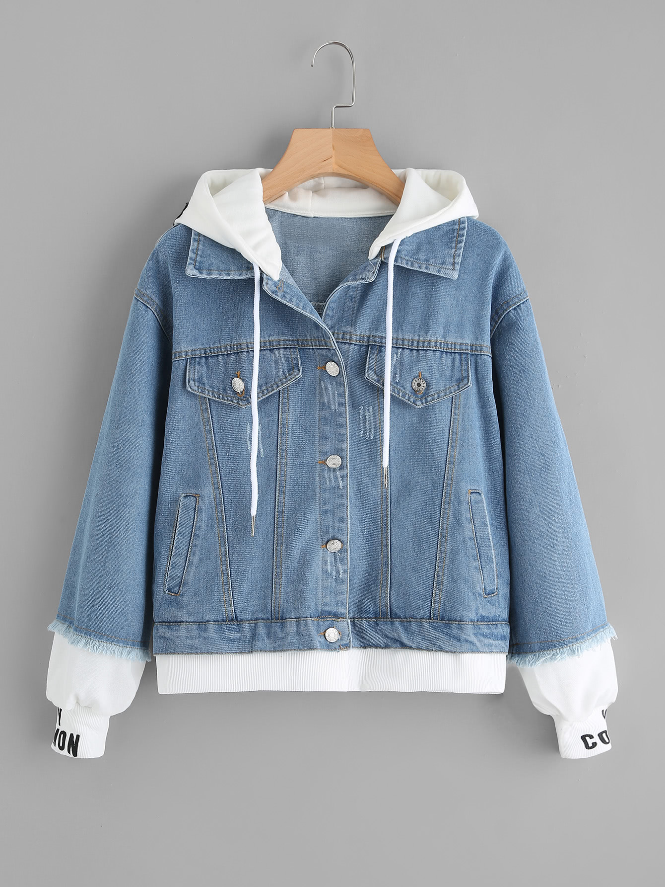 Image of 2 In 1 Ribbed Knit Trim Hooded Denim Jacket