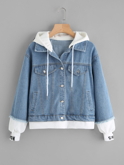 2 In 1 Ribbed Knit Trim Hooded Denim Jacket
