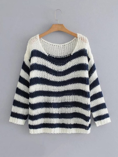 Block Striped Chunky Sweater