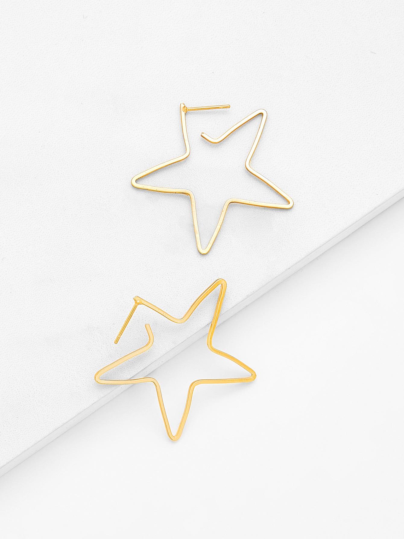 Open Star Design Drop Earrings open irregular ring design earrings