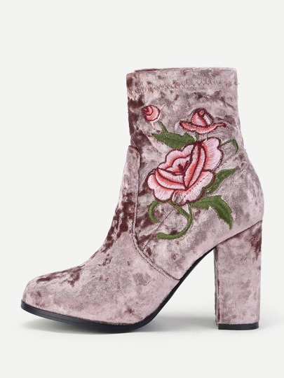 Flower Embroidered Velvet High Heeled Boots