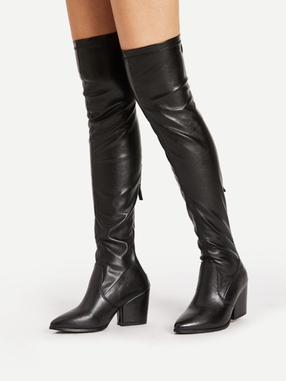 Back Zipper Pointed Toe PU Boots