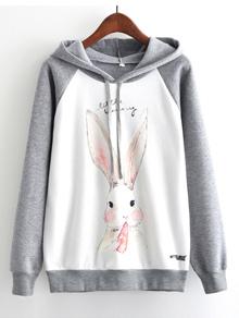 Rabbit Print Cut And Sew Hooded Sweatshirt