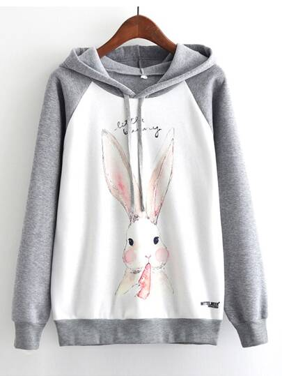 Rabbit Print Cut And Sew Hooded Sweatshirt