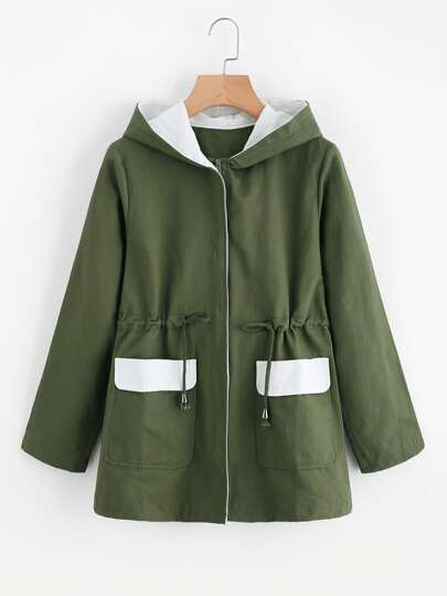 Drawstring Waist Dual Pocket Hooded Zip Up Coat