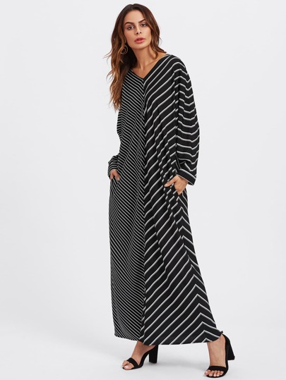Self Tie Mixed Stripe Hijab Long Dress
