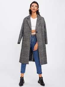 Tartan Plaid Lapel Neckline Coat