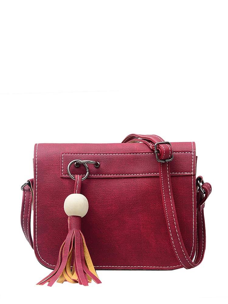 Tassel Detail Faux Leather Crossbody Bag polygon detail star crossbody bag