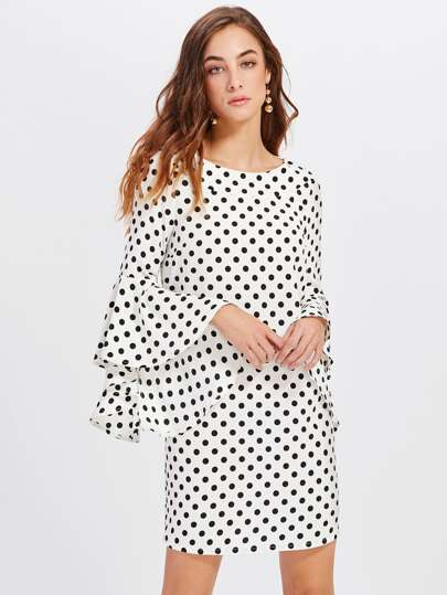 Exaggerate Bell Sleeve Polka Dot Dress