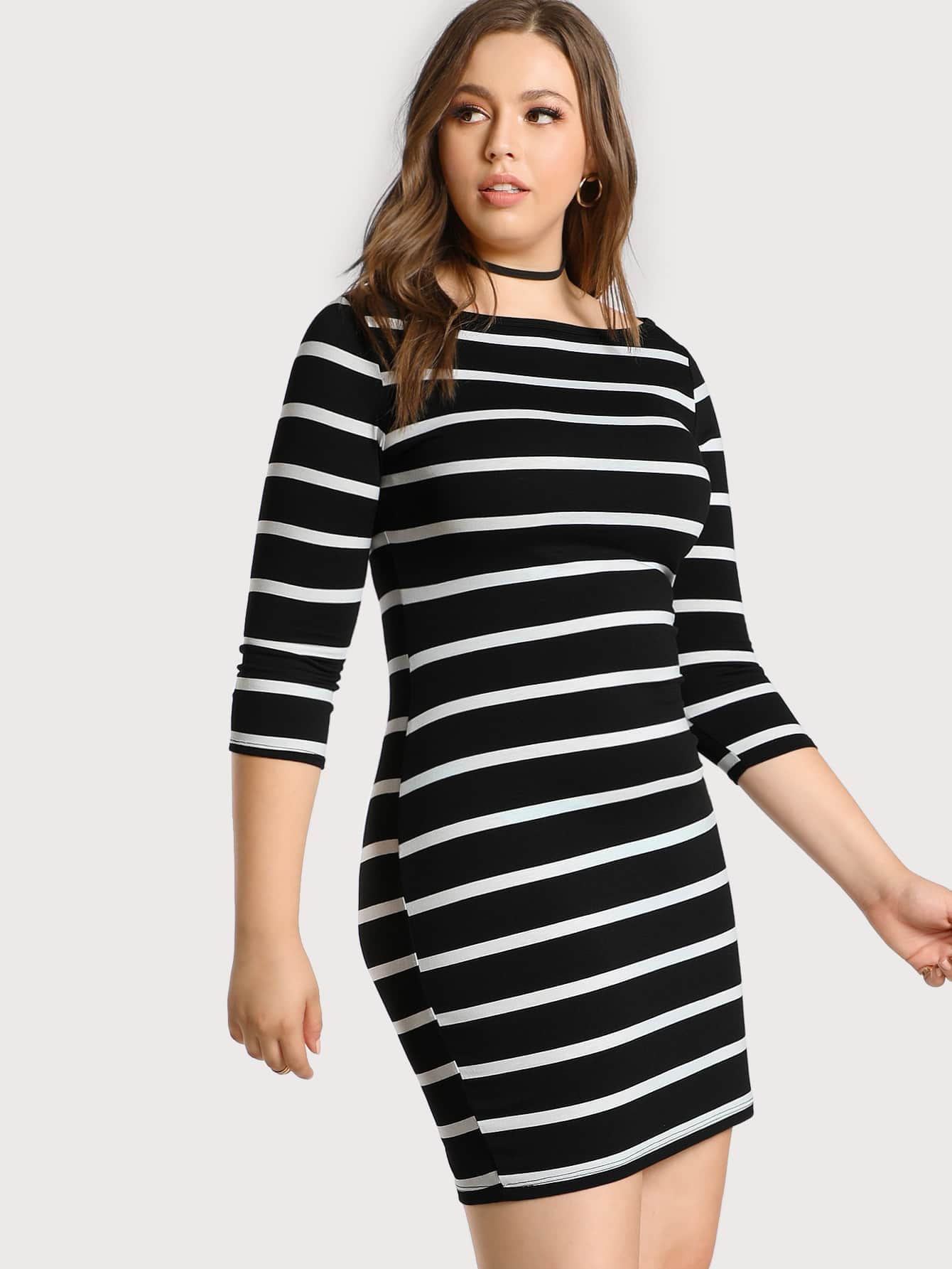 Image of 3/4 Sleeve Striped Tee Dress