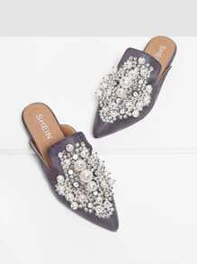 Faux Pearl Decorated Flat Mules
