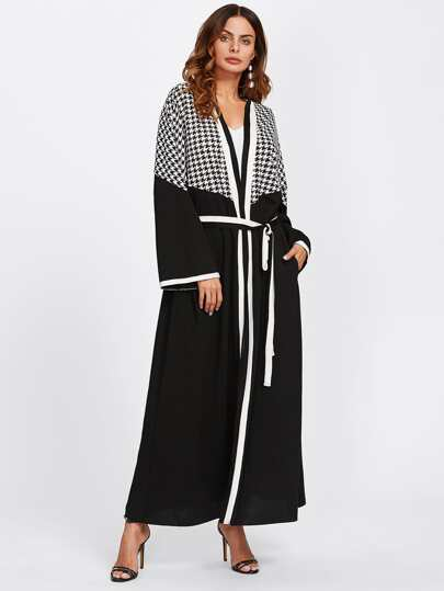 Striped Neckline Houndstooth Panel Belted Abaya