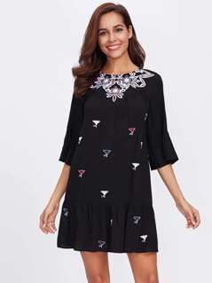 Trumpet Sleeve Flower Embroidered Tiered Hem Dress