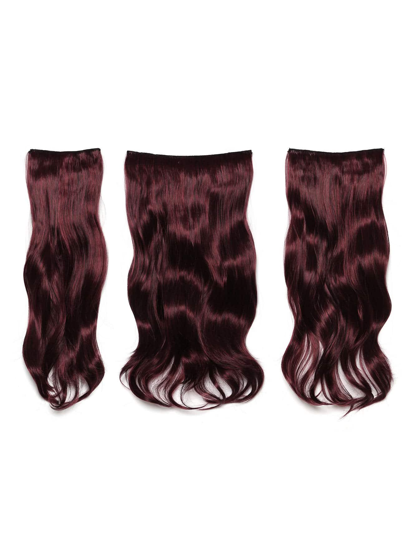 Black & Burgundy Clip In Soft Wave Hair Extension 3pcs lovely soft germination clip to candy fruit a word clip children s hair accessories