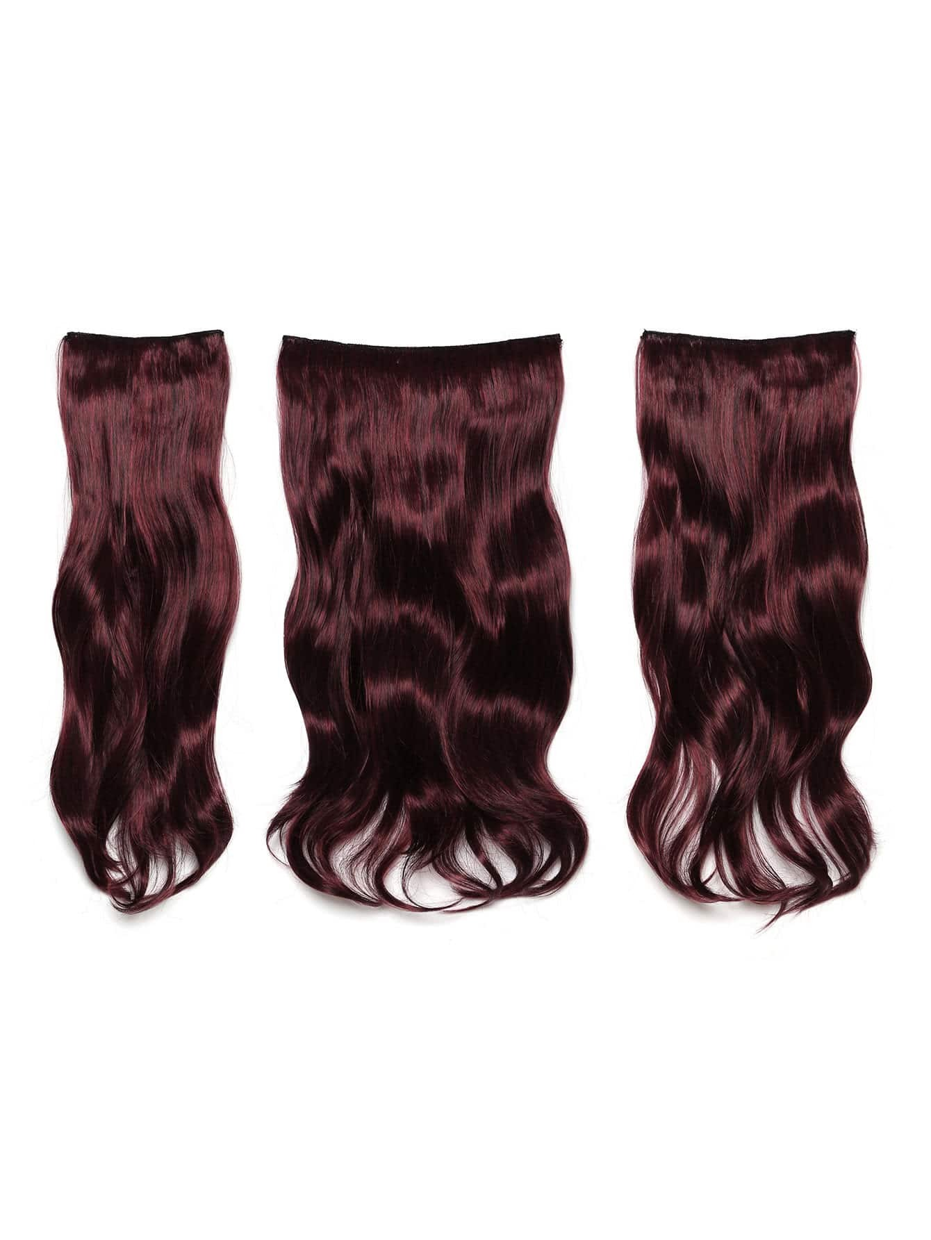 Image of Black & Burgundy Clip In Soft Wave Hair Extension 3pcs