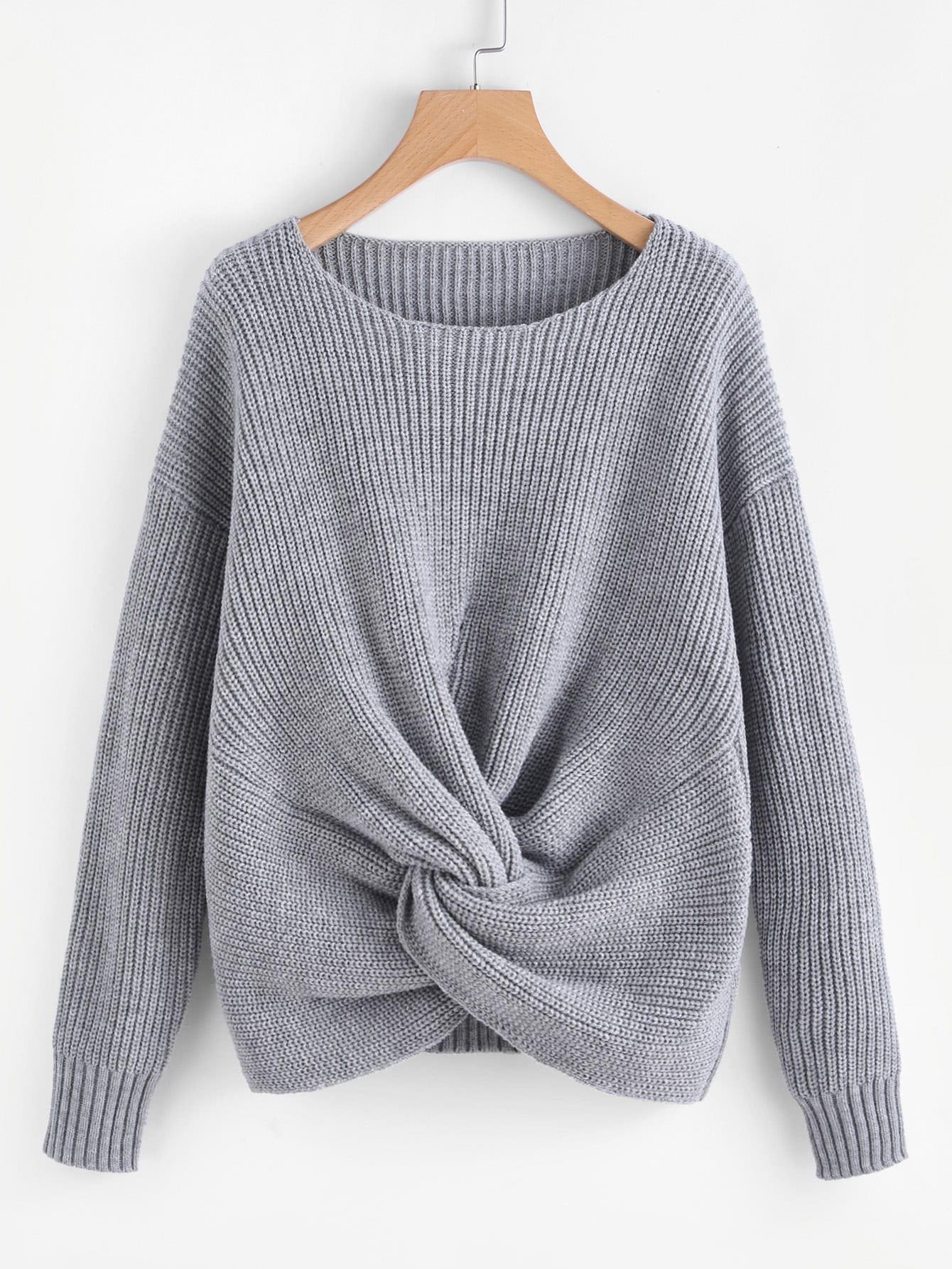 Twist Front Drop Shoulder Jumper twist front half placket drop shoulder blouse
