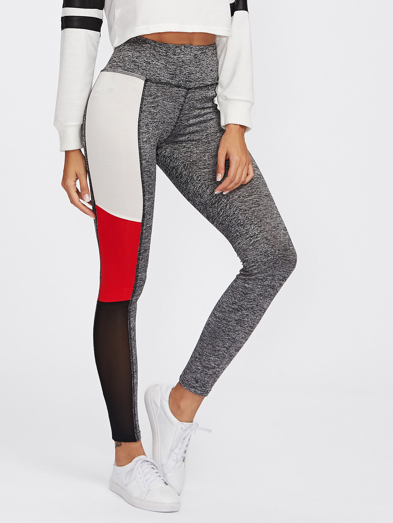 Cut And Sew Marled Knit Leggings marled knit topstitch stirrup leggings