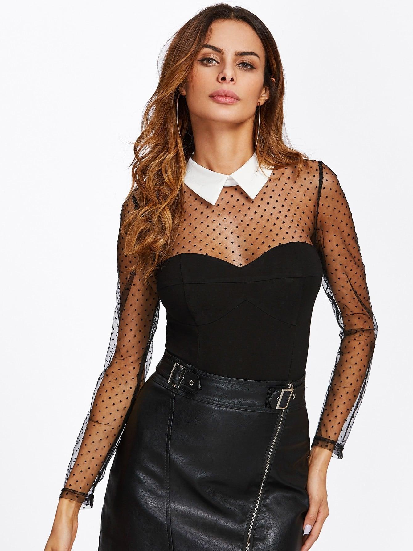 Dot Mesh Yoke And Sleeve Contrast Collar Bodysuit contrast dotted mesh bodysuit
