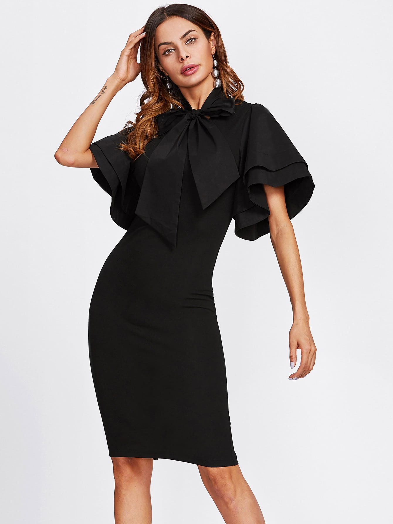 Bow Tie Neck Layered Bell Sleeve Dress pearl detail layered bell sleeve ribbed top