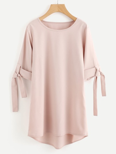 Rolled Sleeve Tie Dip Hem Shift Dress