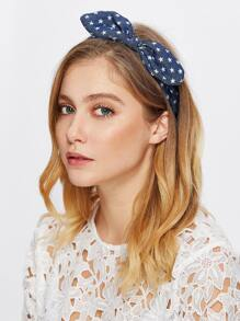 Star Print Knotted Bow Headband
