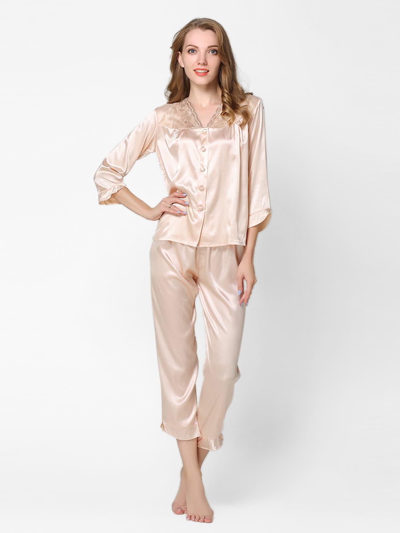 Frill Trim Satin Long Pajama Set cartoon print frill trim cami pajama set