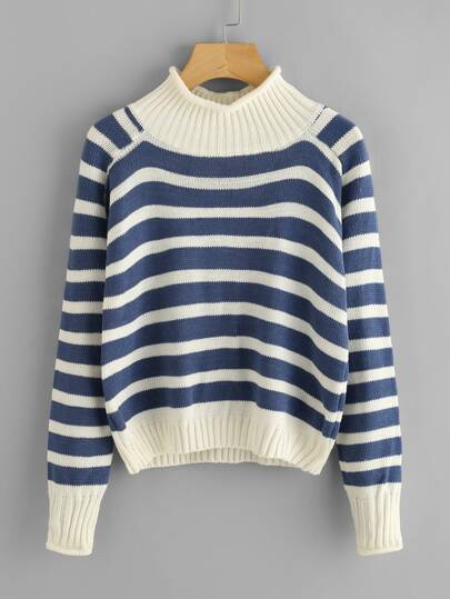 Contrast Trim Striped Turtleneck Knit Sweater