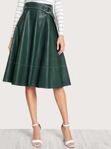 Faux Leather Belted Skirt GREEN