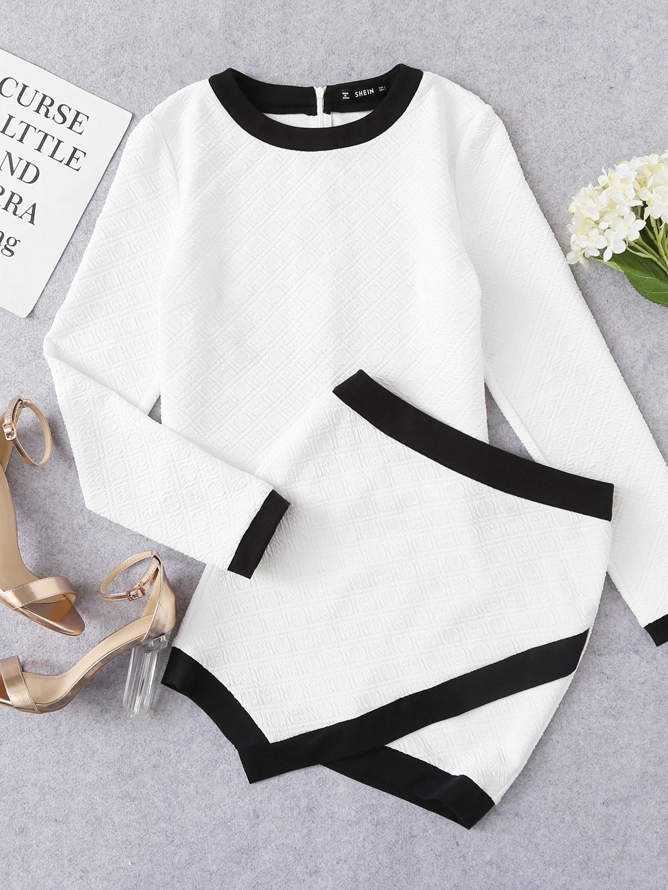 Ringer Textured Top & Overlap Skirt Set