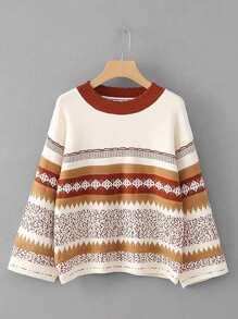 Suéter con estampado geométrico de hombro caído
