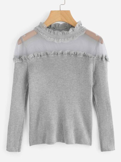 Frill Trim Sheer Mesh Yoke Ribbed Jumper