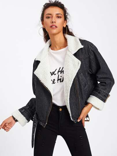 Faux Fur Lined Aviator Denim Jacket