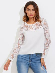 Flower Lace Yoke And Sleeve Geo Cut Insert Top