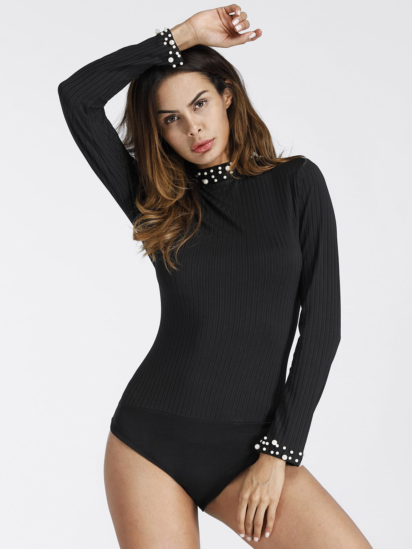 Pearl Beaded Ribbed Bodysuit