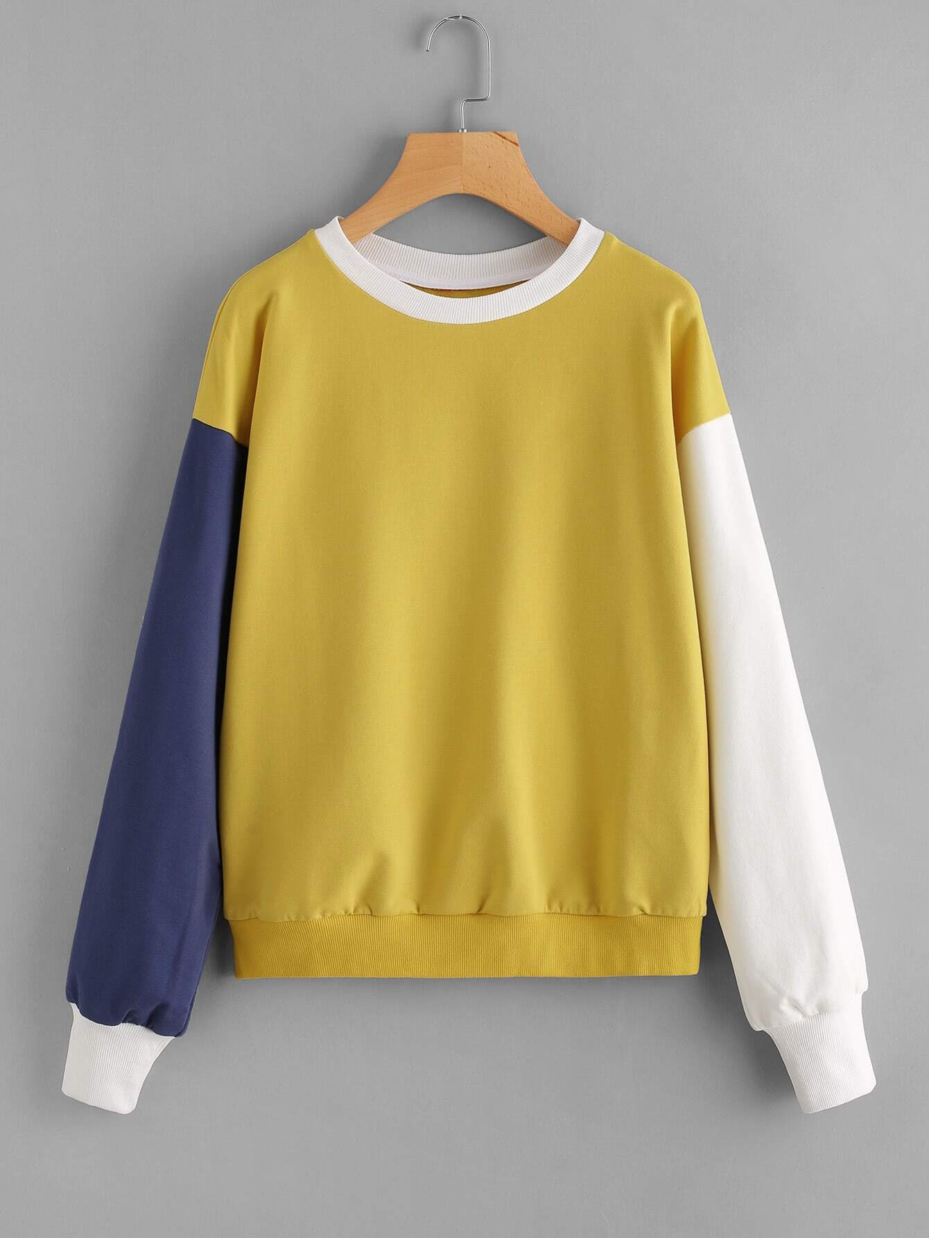 Drop Shoulder Cut And Sew Sweatshirt drop shoulder frill hem batwing sweatshirt