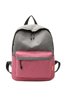 Two Tone Zipper Pocket Backpack