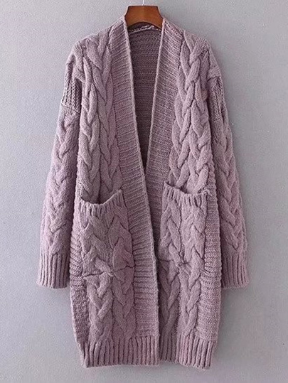 Front Pocket Longline Cable Knit Cardigan -SheIn(Sheinside)