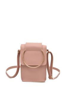 Ring Design Flap PU Shoulder Bag