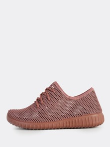 Mesh Knit Lace Up Sneakers MAUVE
