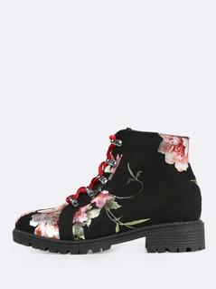 Reflective Floral Print Combat Boots BLACK