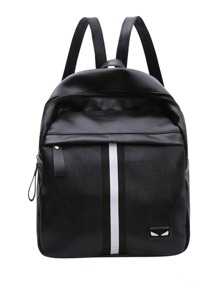 Striped Detail Zipper Front Backpack