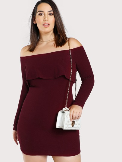 Flounce Bardot Bodycon Dress