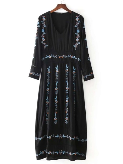 Ladder Cutout Detail Embroidery Flower Maxi Dress