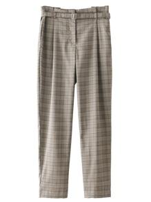 Self Tie Plaid Pants