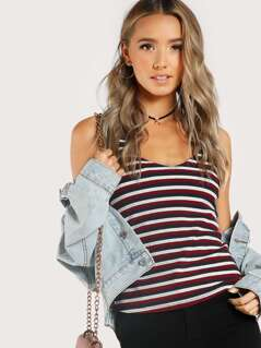 Double V Neck Striped Tank Top