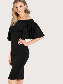 Flutter Sleeve Off Shoulder Split Back Dress