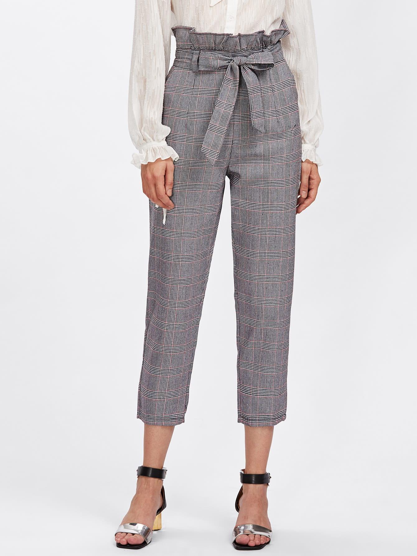 Купить Модные клетчатые брюки с поясом, Ksenia G, SheIn