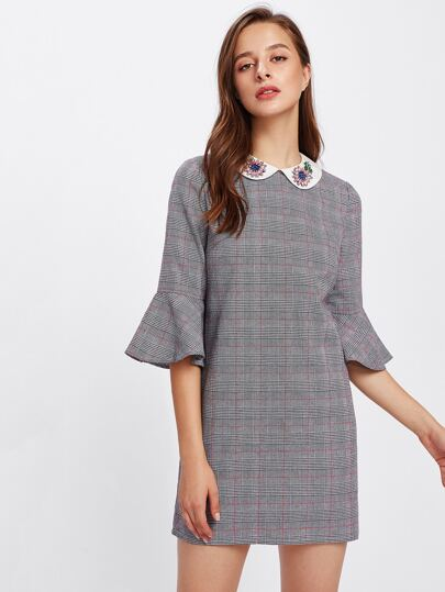 Rhinestone Embellished Collar Trumpet Sleeve Plaid Dress