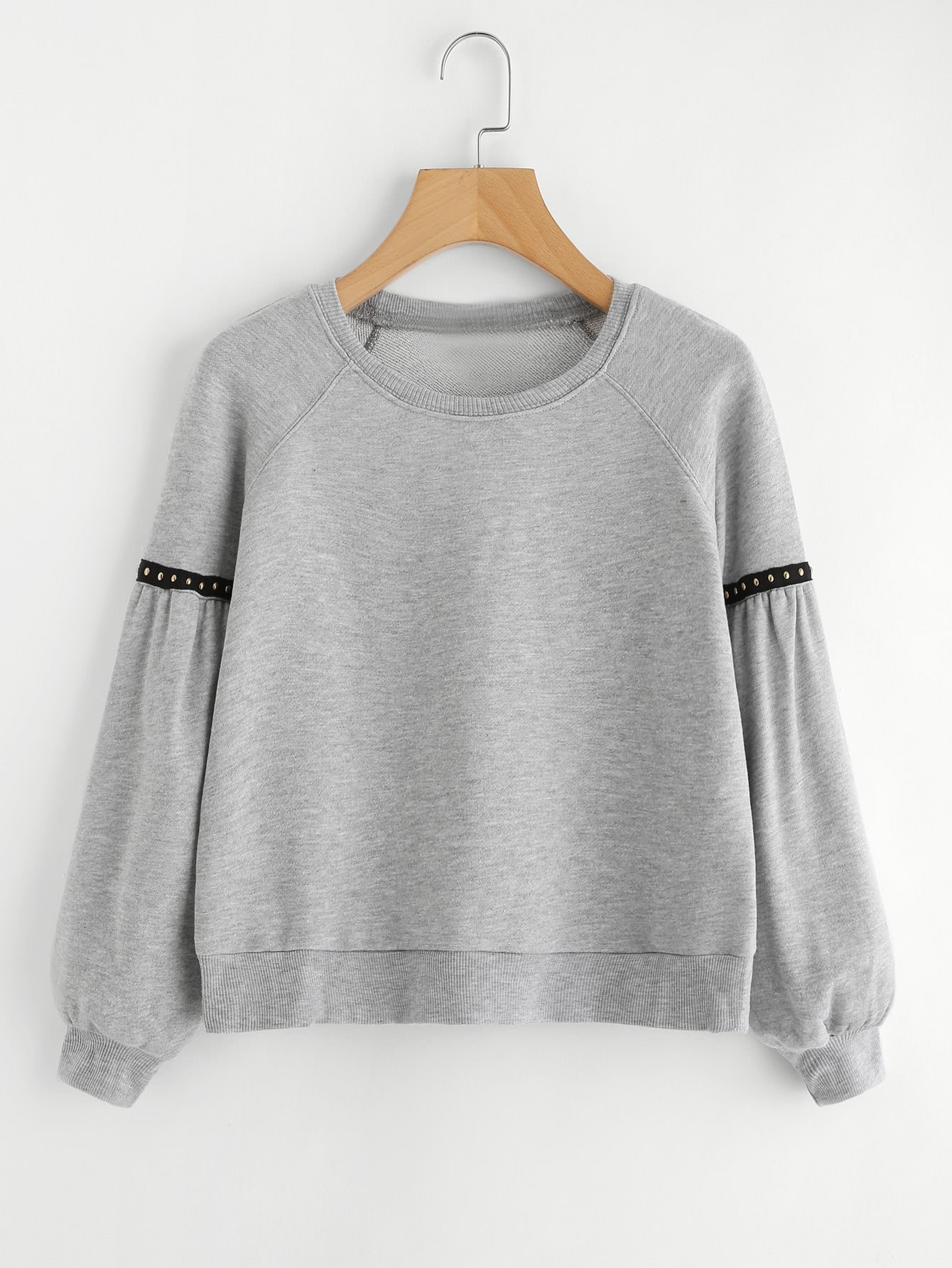 Ribbed Knit Trim Crop Sweatshirt dark grey ribbed trim drop shoulder lace up sweatshirt
